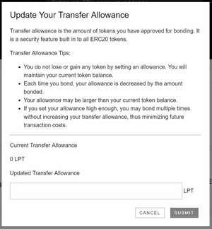 Mettre à jour votre allocation de transfert Livepeer