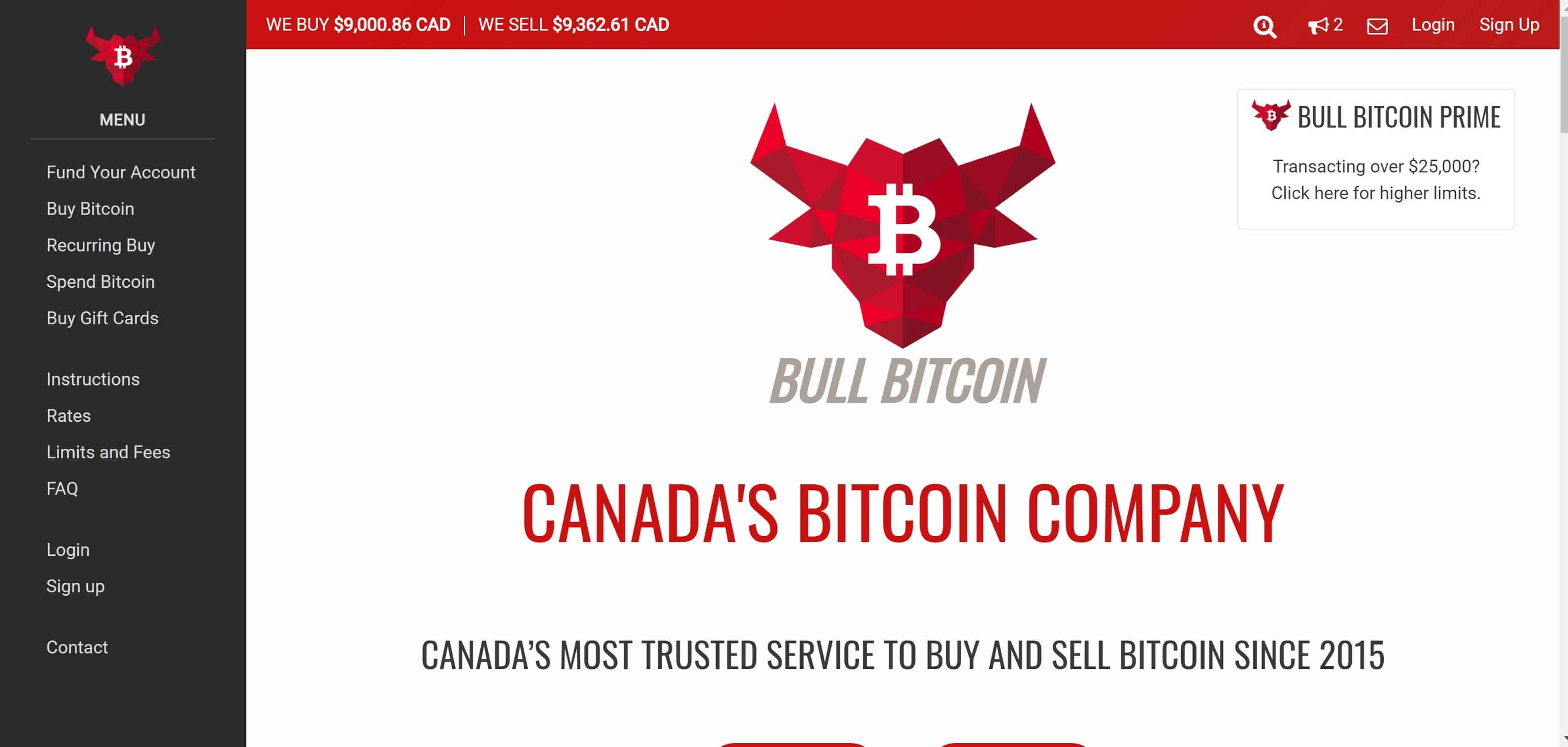 Bull Bitcoin Website