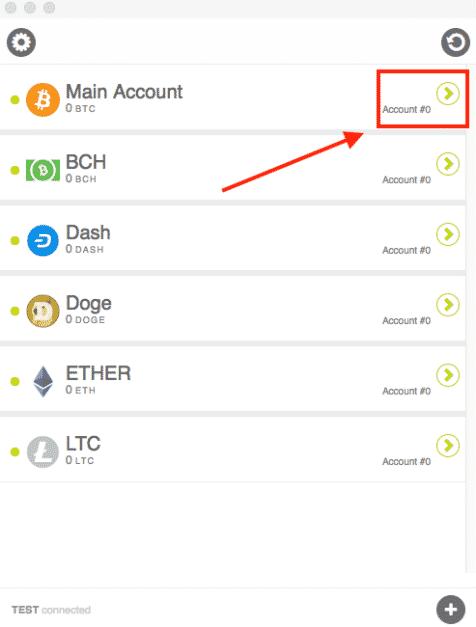Select crypto to receive on KeepKey