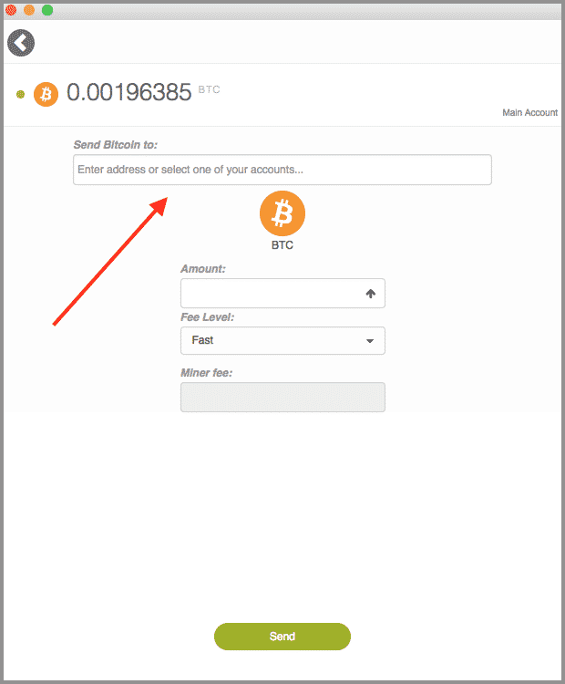 Enter crypto address to send to from KeepKey