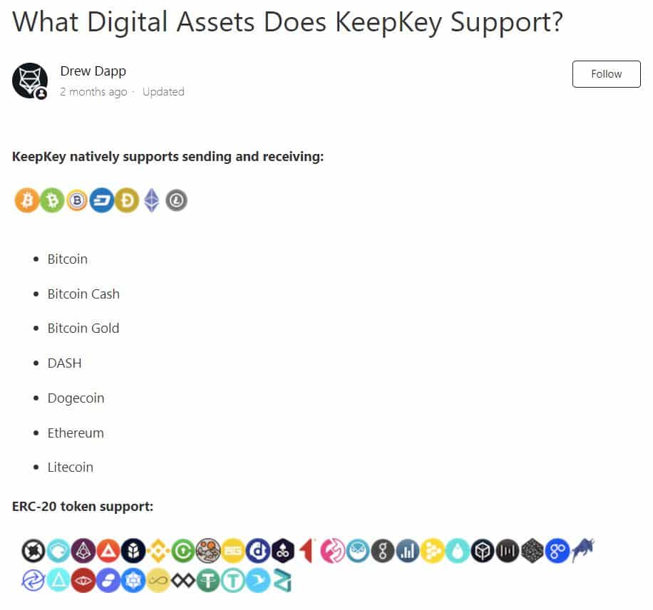 Cryptocurrencies supported by KeepKey